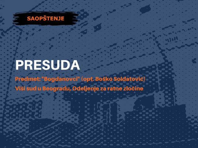 Povodom presude za ubistvo devet civila u Bogdanovcima