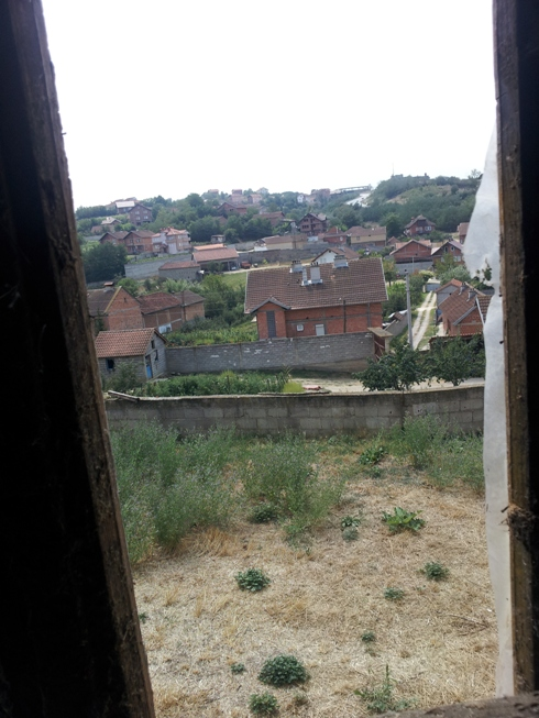 View from the window of Ismet Gashi's house, of the hill where 549th MtBt opend fire from
